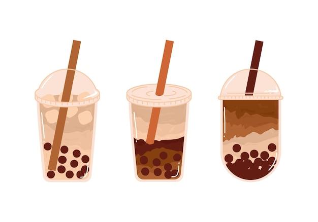 Conjunto de bebidas com sabor e xícara diferentes