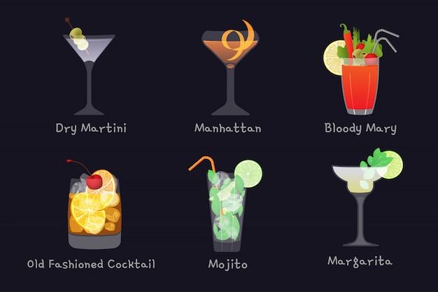 Conjunto de bebidas de barra de álcool de vetor