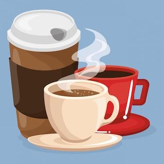 Conjunto de bebidas de café