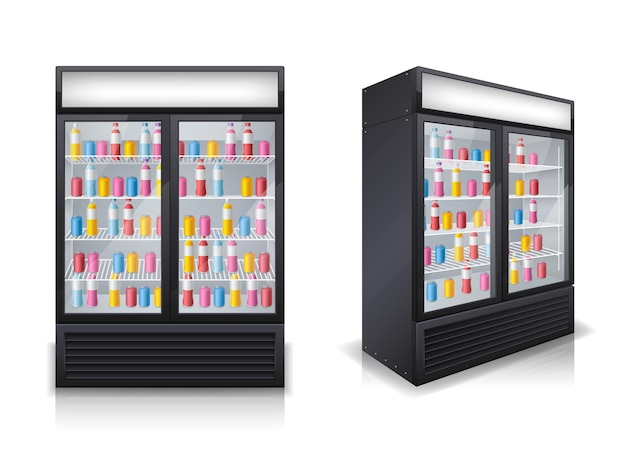 Conjunto de bebidas geladeiras