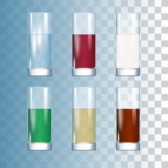 Conjunto de bebidas nos copos