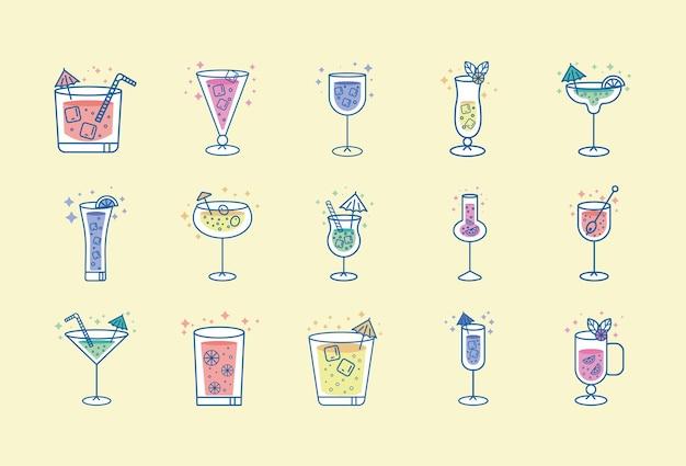 Conjunto de bebidas tropicais