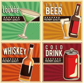 Conjunto de bebidas vintage