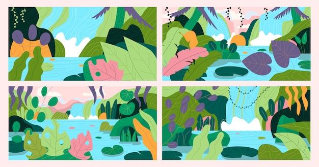 Conjunto de bela paisagem exótica desenhados à mão com cascata. ilustração plana.