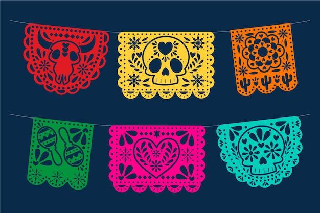 Conjunto de belas bandeiras mexicanas