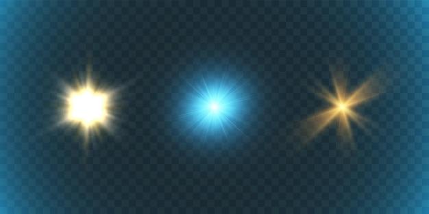 Conjunto de belas estrelas brilhantes em uma ilustração de fundo transparente.
