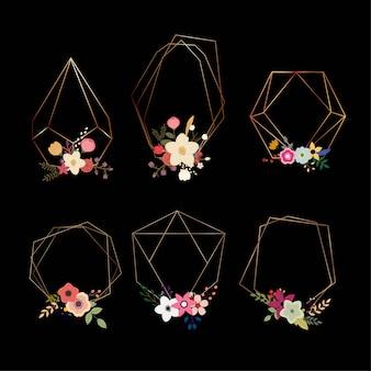 Conjunto de belas formas geométricas com flores