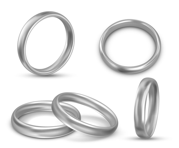Conjunto de belas ilustrações realistas de alianças de casamento
