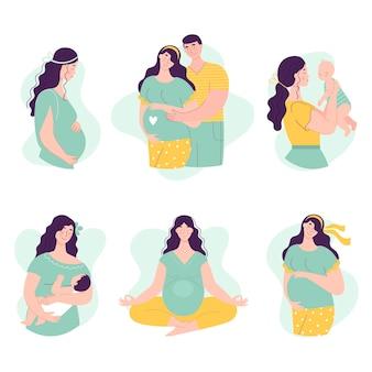 Conjunto de belas jovens grávidas com homem e bebê