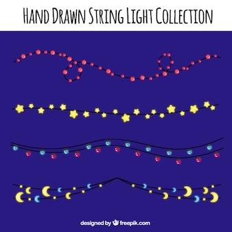 Conjunto de belas luzes da corda