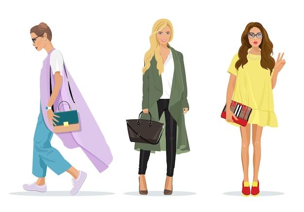 Conjunto de belas mulheres jovens e elegantes em roupas da moda com acessórios. personagens femininas detalhadas. ilustração de moda.