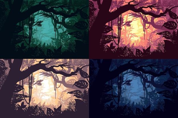 Conjunto de belas paisagens da selva