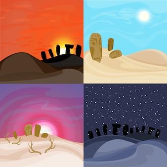 Conjunto de belas paisagens do deserto