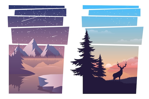 Conjunto de belas paisagens
