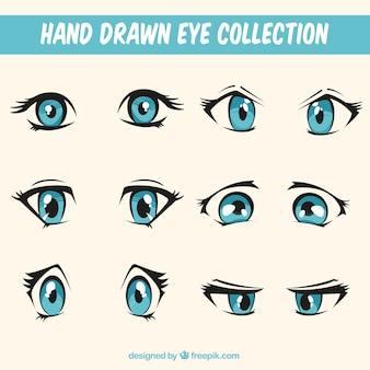 Conjunto de belas tiradas mão olhares