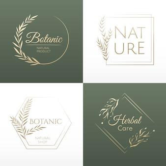 Conjunto de beleza de logotipos. modelo natural para logotipos de design