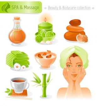 Conjunto de beleza e cosméticos. coleção de spa e massagem com linda garota na toalha.