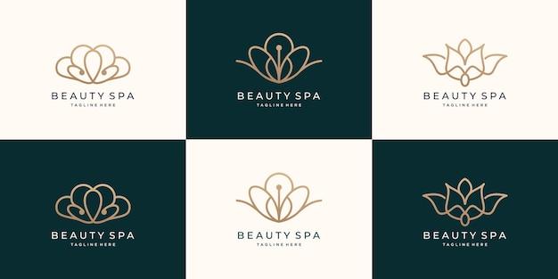 Conjunto de beleza feminina e logotipo do spa