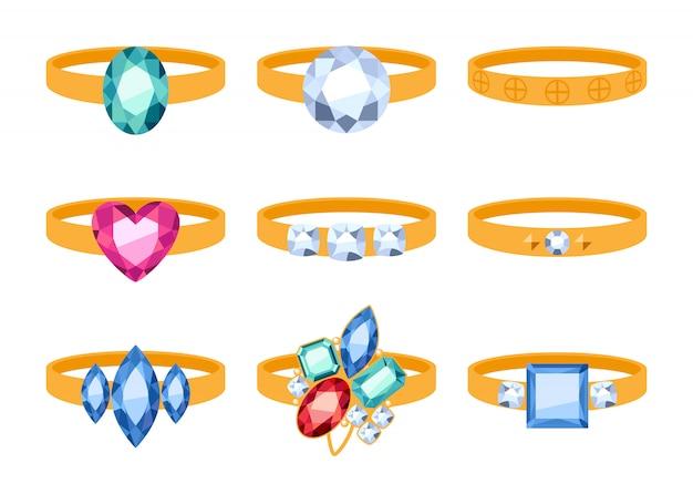 Conjunto de belos anéis de ouro com pedras preciosas.