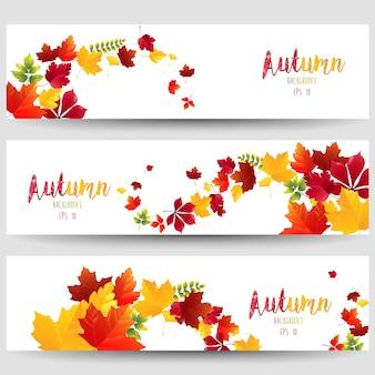 Conjunto de belos banners de outono