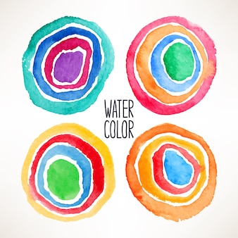 Conjunto de belos círculos coloridos em aquarela. ilustração desenhada à mão
