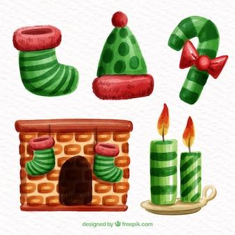 Conjunto de belos elementos decorativos de natal