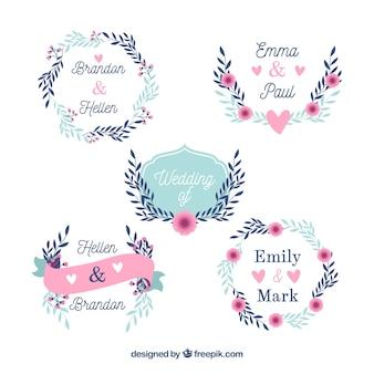 Conjunto de belos emblemas de casamento