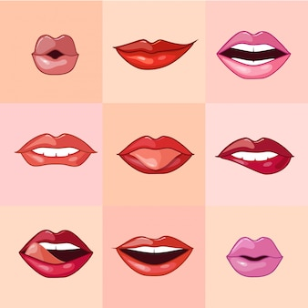 Conjunto de belos lábios femininos
