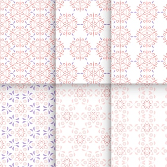 Conjunto de belos padrões de cor vermelha