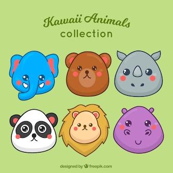 Conjunto de belos rostos de animais selvagens desenhados a mão
