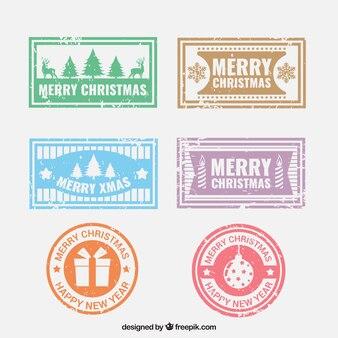 Conjunto de belos selos de natal
