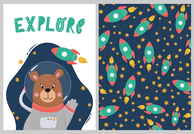 Conjunto de berçário com astronauta e padrão de urso
