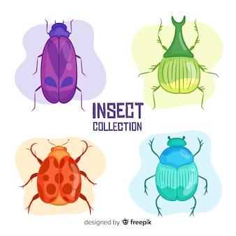 Conjunto de besouros coloridos mão desenhada