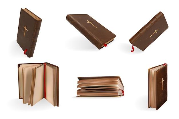 Conjunto de bíblia sagrada do cristianismo realista.
