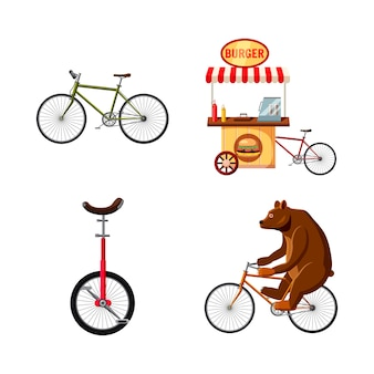 Conjunto de bicicleta. caricatura, jogo, de, bicicleta