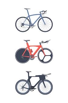 Conjunto de bicicleta de estrada.