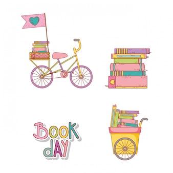 Conjunto de bicicleta e carrinho com educação de livros