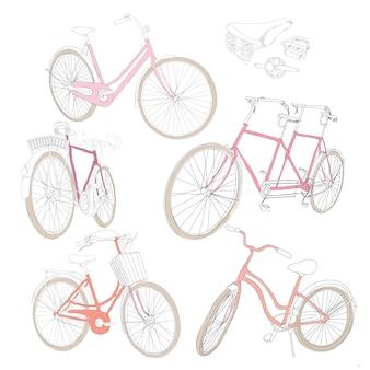 Conjunto de bicicletas coloridas desenhadas à mão