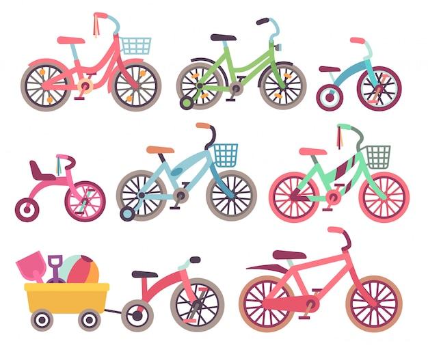 Conjunto de bicicletas de crianças de vetor. coleção de bicicletas para crianças