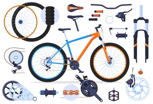 Conjunto de bicicletas de montanha com peças de bicicleta