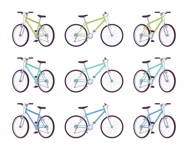 Conjunto de bicicletas esportivas nas cores verdes, turquesas e azuis