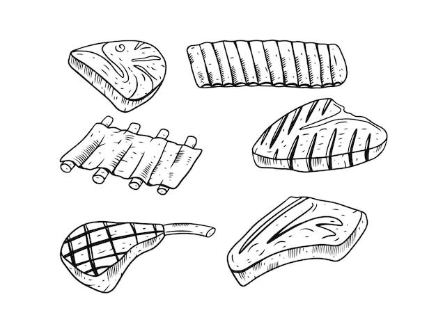 Conjunto de bife de carne bovina isolado no branco