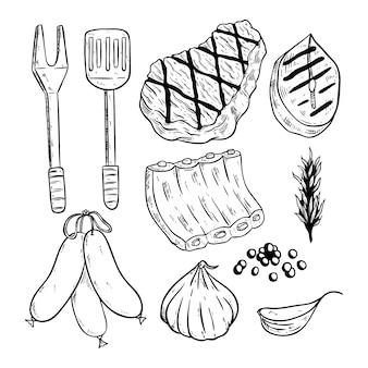 Conjunto de bife de carne com ervas e especiarias, usando o estilo desenhado à mão