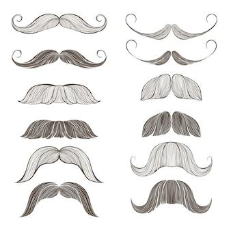 Conjunto de bigode de diferentes formas. ilustração