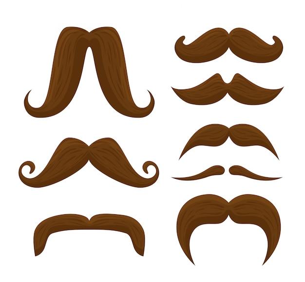 Conjunto de bigodes masculinos