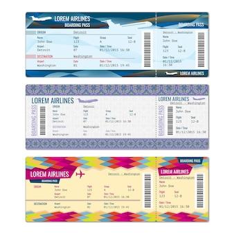 Conjunto de bilhetes de avião para avião, companhia aérea, ilustração de embarque de passagem