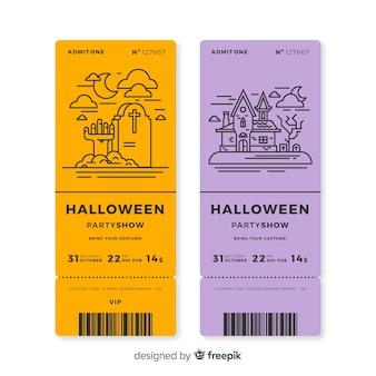 Conjunto de bilhetes de festa de halloween com desenhos de contorno