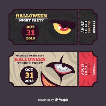 Conjunto de bilhetes de festa de halloween com olhos de monstros