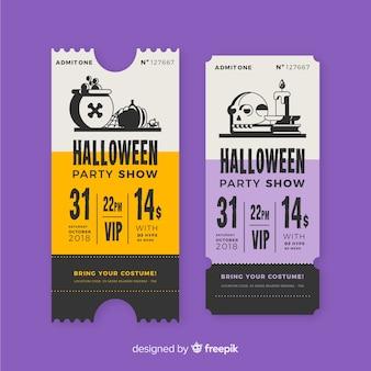 Conjunto de bilhetes de festa de halloween vintage