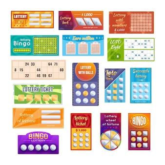 Conjunto de bilhetes de loteria brilhante realista. cartão da sorte de jogo de bingo para ganhar o jackpot do jogo de loteria